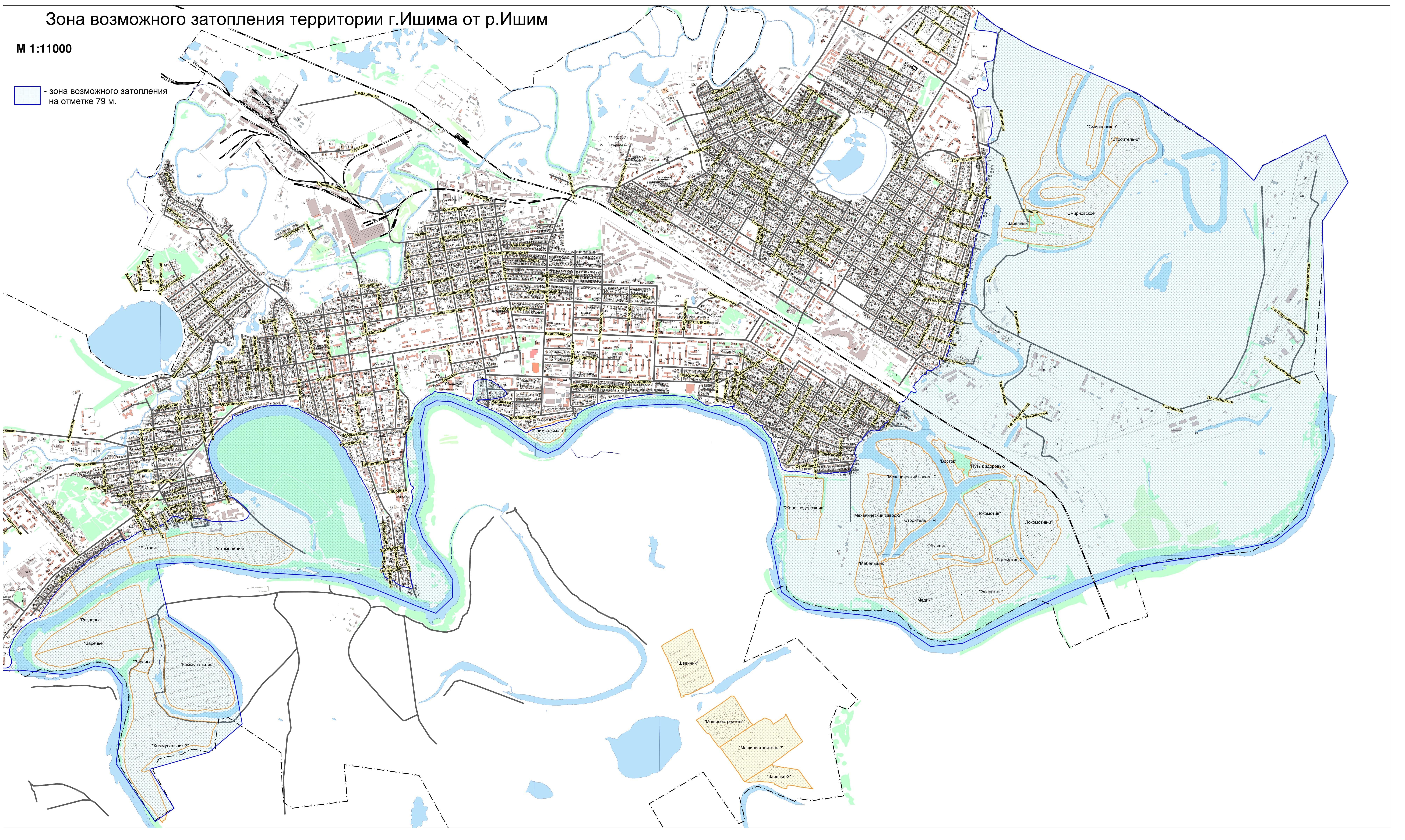 Зона возможного затопления по реке Ишим